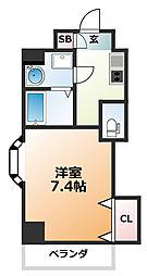 Luxe西田辺 5階1Kの間取り