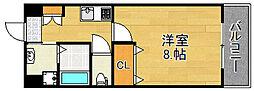 JR大阪環状線 野田駅 徒歩9分の賃貸マンション 2階1Kの間取り