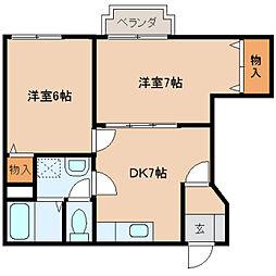 奈良県生駒郡斑鳩町阿波の賃貸アパートの間取り