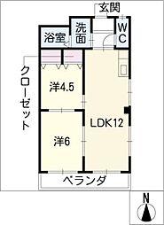 レインボー桜井[3階]の間取り