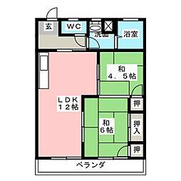 コーポ梨花苑[3階]の間取り