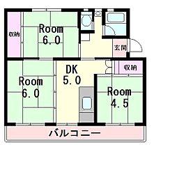 ビレッジハウス五個荘2号棟[4階]の間取り