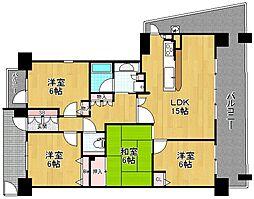 大阪府枚方市渚西2丁目の賃貸マンションの間取り