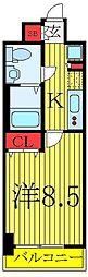 東京メトロ有楽町線 東池袋駅 徒歩4分の賃貸マンション 2階1Kの間取り