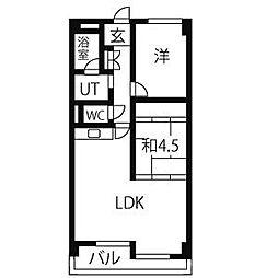 シャンポ−ル幹 I[3階]の間取り