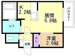 Y.T tower月寒東(ワイドット ティータワーツキサムヒ 3階1LDKの間取り