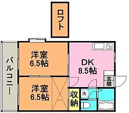 カーサ京町[205号室]の間取り