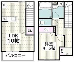 横浜市営地下鉄ブルーライン 港南中央駅 徒歩20分の賃貸テラスハウス 2階1LDKの間取り