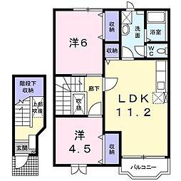 長野県須坂市大字高梨の賃貸アパートの間取り