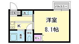 兵庫県神戸市兵庫区楠谷町の賃貸アパートの間取り