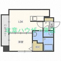 札幌市営東豊線 北13条東駅 徒歩5分の賃貸マンション 7階1LDKの間取り