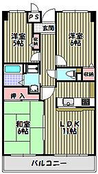 大阪府河内長野市西之山町の賃貸マンションの間取り