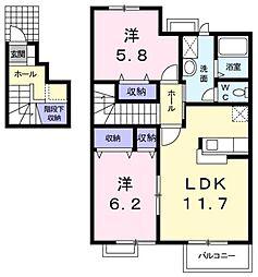 広島県福山市春日町浦上の賃貸アパートの間取り