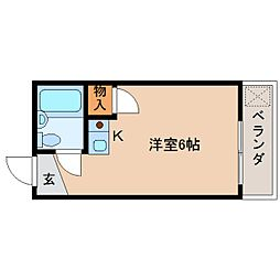 奈良県奈良市秋篠新町の賃貸マンションの間取り