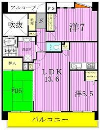 千葉県松戸市小金きよしケ丘2丁目の賃貸マンションの間取り