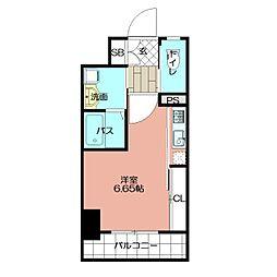 GALA PLATINUM COURT 4階ワンルームの間取り