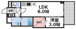 セレニテ谷九プリエ 14階1LDKの間取り