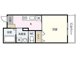 広島電鉄宮島線 山陽女学園前駅 徒歩14分の賃貸アパート 2階1Kの間取り