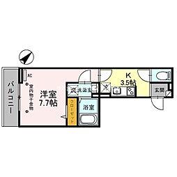 埼玉高速鉄道 浦和美園駅 徒歩12分の賃貸アパート 2階1Kの間取り