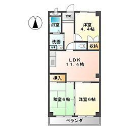 愛知県名古屋市西区山木2丁目の賃貸マンションの間取り