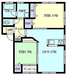 秋田県大仙市四ツ屋字下古道の賃貸アパートの間取り