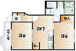 リバーサイドムラサキ B棟[1階]の間取り