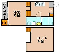 ソレイユ竹下[2階]の間取り