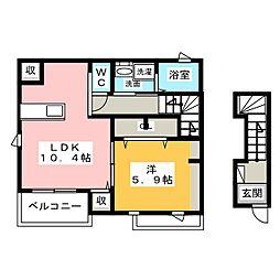 メゾン・ド・yu II 2階1LDKの間取り