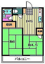埼玉県川口市八幡木1丁目の賃貸アパートの間取り
