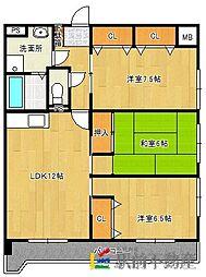 GREEN HILLS津福[1階]の間取り