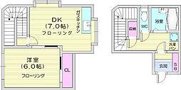 バースランド小松島 2階1DKの間取り