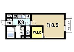 奈良県奈良市西大寺北町1丁目の賃貸アパートの間取り