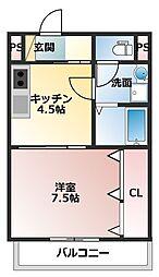 JR山陽本線 大久保駅 徒歩13分の賃貸アパート 2階1DKの間取り