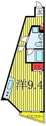 東京メトロ有楽町線 要町駅 徒歩10分の賃貸マンション 2階ワンルームの間取り