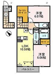 D-roomBrlliant 2階1LDKの間取り