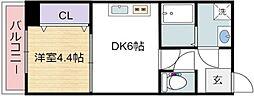 グランパシフィック梅南 7階1DKの間取り