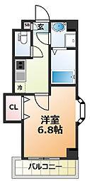 Luxe西田辺 4階1Kの間取り