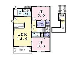 林アパートB 2階1LDKの間取り