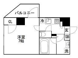 オーギュメント牛込神楽坂 7階1Kの間取り