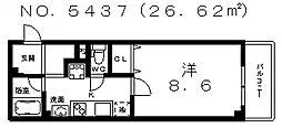 エイチツーオーサンクチュアリ[6階]の間取り