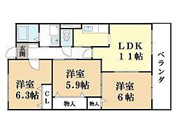 エスト京田辺[1階]の間取り