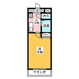 A・City岡崎矢作 3階1Kの間取り