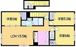 北海道江別市上江別西町の賃貸アパートの間取り