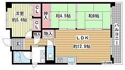 ロジュマン六甲[6階]の間取り