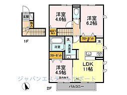D-room花畑 弐番館[201号室]の間取り