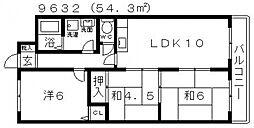 パラストオカザワ[4B号室号室]の間取り
