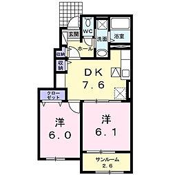 広島県東広島市八本松西1丁目の賃貸アパートの間取り
