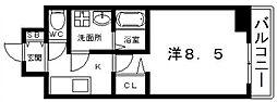 Osaka Metro谷町線 四天王寺前夕陽ヶ丘駅 徒歩7分の賃貸マンション 6階1Kの間取り