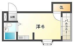 八雲東グリーンハイツ 4階ワンルームの間取り