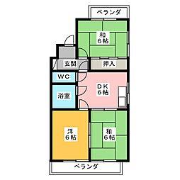 サンハイツ野田[2階]の間取り
